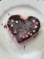 Chocolate cake with chocolate ganache for Valentine's Day