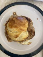 Sausage patties on homemade brioche rolls