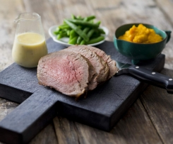 Pocket roast beef with seeded mustard sauce