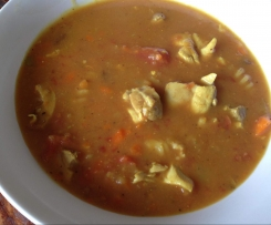 Curried chicken and Pasta Soup