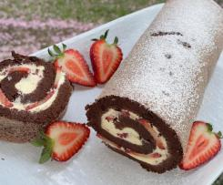 Chocolate & Peppermint Cream Swiss Roll with Strawberries