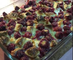 Raspberry, white chocolate and waffle pudding