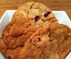 Macadamia, White Chocolate and Cranberry Cookies