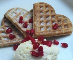 Champagne waffles & Pomegranate cream