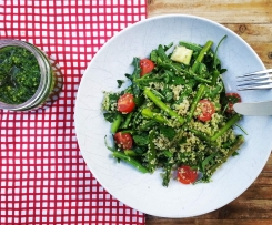 Quinoa & Spring Vegetable Salad with Kale Pesto