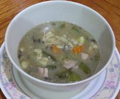 Chicken, Vegie & Pasta Soup (thick & creamy)