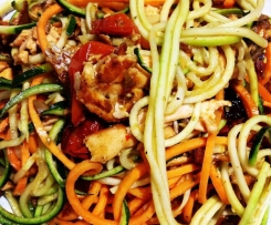 Pesto Salmon and Veg Noodles