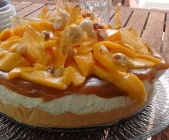 Mango Cheesecake with Butterscotch Sauce and Macadamia Praline