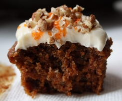 Carrot & Walnut Muffins with Cream Cheese Frosting