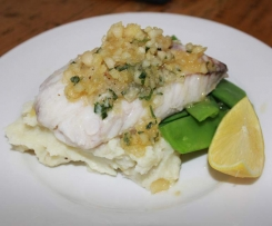 Snapper in Macadamia Butter with Mash & Snowpeas