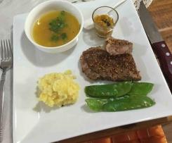 Steamed Porterhouse Steak & Vegetables & Soup