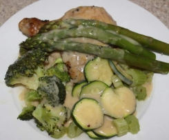 Varoma Herb & Mustard Chicken with Steamed Greens