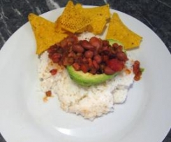 Vegetarian Chilli in Avocado