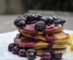 Paleo Banana & Coconut Pancakes with Blueberry Compote