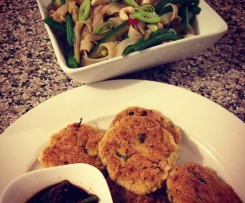 Thai tofu cakes with rice noodle salad