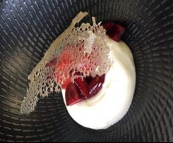 Risagolo (fancy rice pudding) with cherry sauce