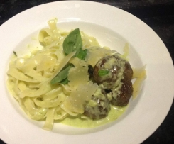 Meat Ball fettuccine with a creamy pesto sauce