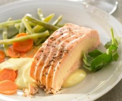 Salmon with Salmon Mousse stuffing and Mango Sauce