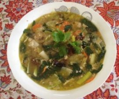 Cock-a-Leekie Soup with Kale