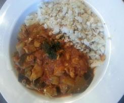 Chicken & Eggplant stew with Cauliflower rice