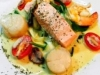 Salmon With Prawns and Scallops in Champagne Butter Cream Sauce