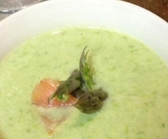 Asparagus soup with creme fraiche and smoked salmon