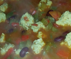 Spicy Mexican Soup with Chicken Meatballs