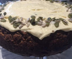 GF, NF, DF, Egg Free Clone of Caribbean Carrot Cake with Healthy Cream Cheese Icing!