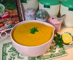 Moroccan sweet potato, carrot and chick pea soup