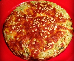 Zucchini, rice, fetta and pine nut pie