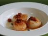 Seared scallops with Truffle Ponzu, pancetta dust and a kaffir lime butter