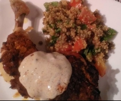 Chermoula chicken with quinoa and lentil salad