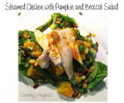 Steamed Chicken with Pumpkin and Broccoli Salad