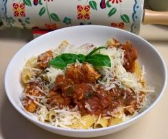 Chicken, tomato, basil, pasta