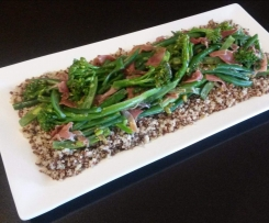 Quinoa, broccolini, green bean & proscuitto salad