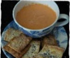 Roast capsicum dip with sesame and poppy seed squares