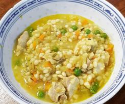 Kath's Chicken, Ginger and Turmeric Soup with Pearl Couscous