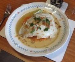 Steamed Barramundi with Thai Coconut Sauce and Ginger Sweet Potato Mash