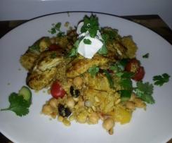 Tikka Chicken with Quinoa Chickpea and pumpkin Salad
