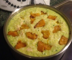 creamy pesto chicken and pumpkin risotto