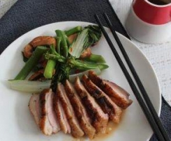 Five spice duck with mushroom and Asian greens