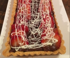 Chocolate and Strawberry Custard Tart