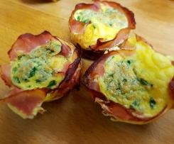 LCHF Breakfast Frittata / Keto Egg & Ham Muffins