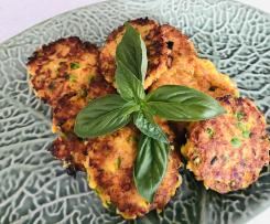 Sweet potato, pea and corn fritters (GF, egg free variations)