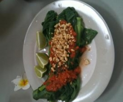 Indonesian Water Spinach with Sambal Pelecing