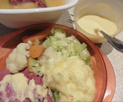 Silverside, vegetables and mustard sauce