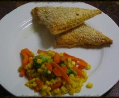 Beef and vegetable triangles