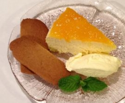 STEAMED CHEESECAKE & APRICOT TOPPING
