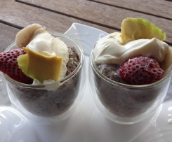Chia Pudding with Strawberries, Bananna & Avocado