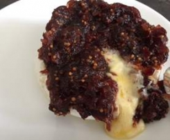 Warm Brie Topped with Red Onion and Cranberry Relish